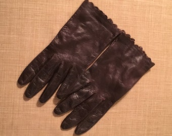 Vintage Italian Leather Brown Gloves,  Size 7, Soft Leather, Vintage Formal Gloves, Silk Lined