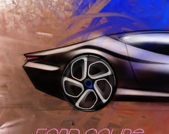Car arts, car drawing, Ford design