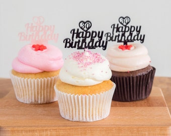 Birthday Cupcake Toppers - Happy Birthday - Birthday Decoration - Pink Cupcake Topper - Happy B-Day - Birthday Cake - Acrylic Topper