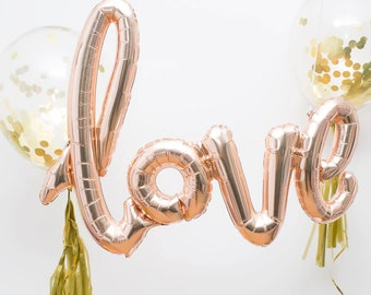 Love Foil Balloon in Rose Gold. 101cm Party decoration perfect for a Wedding, Engagement, Anniversary or Baby Shower!