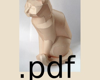 Sitting Cat Papercraft PDF