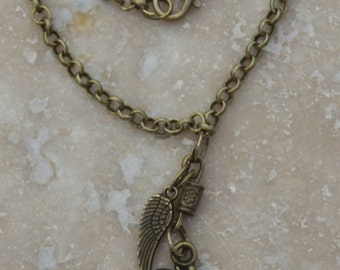 "Men's Necklace Bronze OM symbol Pendant Angel Wing Pendant 22"" Rolo Chain Steampunk Retro Men's Steampunk Necklace Gift"