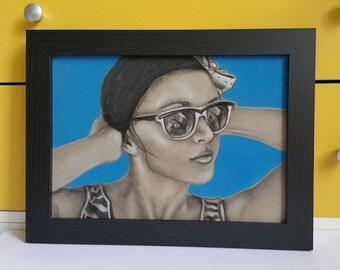 Original drawing- Swimmer (framed)