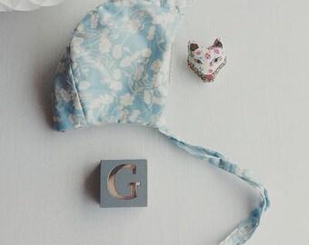 Liberty Pale Blue Floral Handmade Bonnet.