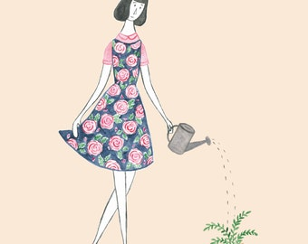 Lady with Watering Can - Art Print