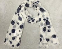 Summer Scarf Spring Scarf Infinity Scarf Dalmatian Prints Dots Scarf Black White Beach Scarf for Women Gift for Women Fashion Accessories