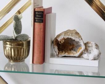 White Calcite Geode Bookend