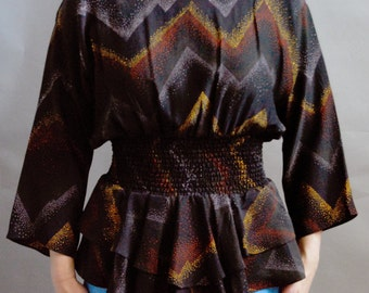 Silk peplum blouse with elastic waist