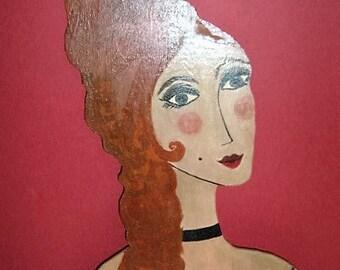 Folk Art Burlesque Lady Painting