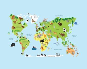 Animal World Map - Vinyl Decal