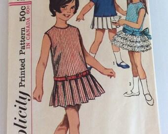 Size 4 Girl's Dress Pattern,Pleated Skirt Pattern,Dropped Waist Dress,1960's Child's Pattern,Loose Fitting Dress,Girl's Dress Pattern,Sew