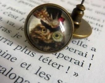 """Earrings """"Nail"""" OWL steampunk"""