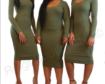 Army green ribbed dress