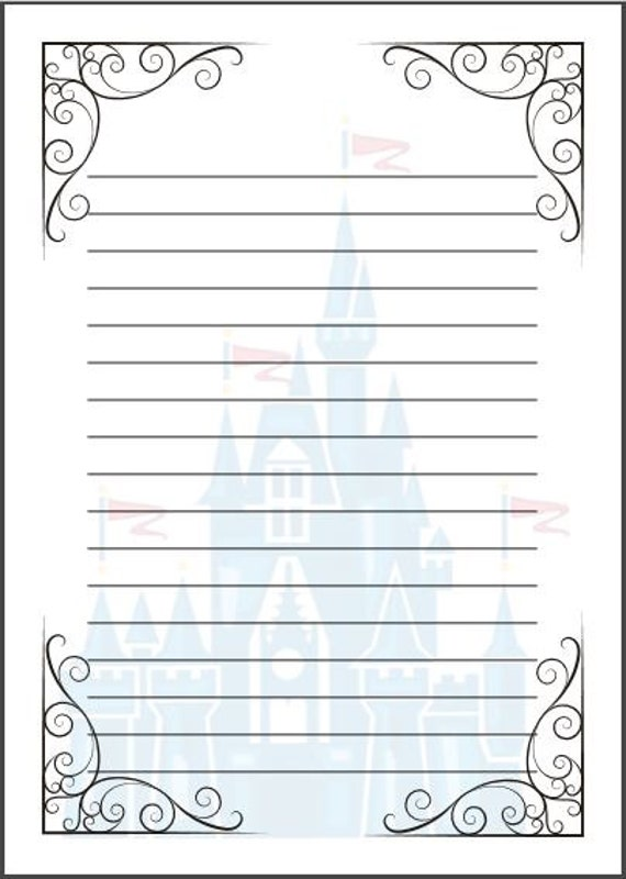 Fairytale writing paper template A4 Cinderella Disney – School Writing Paper Template