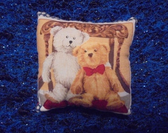 Cushion years 90/Miniature/handmade / printed bears on one side and red on the other