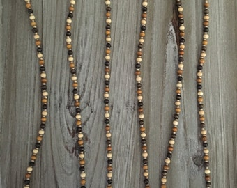 Mini Tassel Necklace with multi-colored wood beads (White, Tan, or Black Tassel)