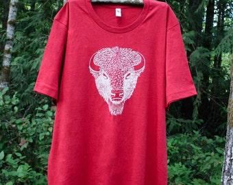 SALE Men's Bison Shirt, Buffalo T-Shirt, Native American Shirt, Nature Graphic Tee, Yellowstone, Camping Shirt, Yosemite, Wildlife Print Tee