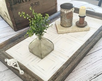 Vintage Style Barnwood Ceiling Tin Rustic Serving Tray Decorative Tray  (Squares Design)