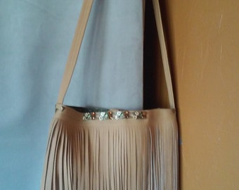 Yellow Fringed front Cross Body Faux Leather Purse
