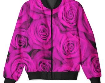 Fuchia Roses Sublimation Front & Back Printed Zip Up Hip Hop Jacket
