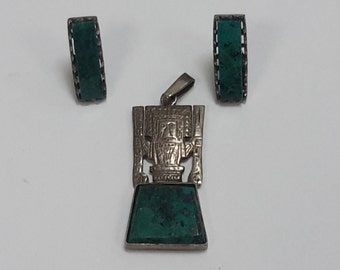 Vintage Tribal Turquoise Sterling Silver 925 Earrings and Pendant