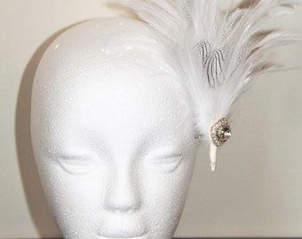 White 1920s style feather hair clip, wedding hair clip, bridal hair clip, crystal hair clip, Great Gatsby hair clip, fascinator