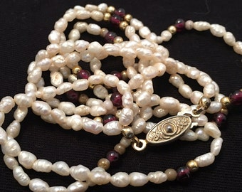 vintage two strand ivory fresh water pearl necklace with gold tone and glass accent beads