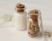 Milk and Cookies Best Friend Necklaces Miniature Food Jewelry Polymer Clay Food Friendship Necklaces Chocolate Chip Cookie Jewelry