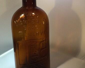 Vintage Amber Medicine Bottle