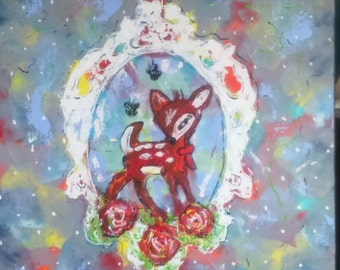Acrylic on canvas: Bambi. New technology. Very modern retro motif. SALE!