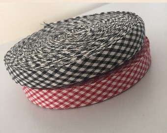16mm Checkered Bias Binding Cotton Tape (5m/10m/25m) (VARIOUS Colors). Webbing, Aprons, Decoration, Craft, Bunting, Sewing, Trim Edge.
