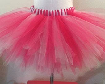 Pink and White Teen and Adult Tutu Skirt, Plus Size Tutu, Adult Tutu, Teen Tutu, Pink Tutu
