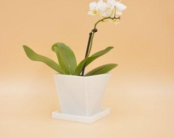 Square white Planter with saucer /Succulent Planter/3Dplanter/ flower vase/ minimal house decor