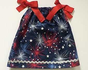 baby girl fourth of july dress, july 4th baby dress, july 4th toddler dresss, fireworks dress, 4th of July bow, 3 months, 6 months and up