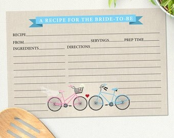 "Printable Two Bicycles Love Recipe Card, Bridal Wedding Shower, 6""x4"", JPG Instant Download PDF"
