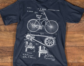 Bicycle Shirt - 1890 Bicycle Patent T-shirt - Cycling Shirts Collection - Available S-3XL Unisex Sizes - Gift Idea for Cyclist