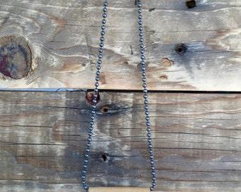 Genuine Leather Fringe Necklace - Angled Tan