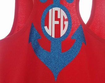 Tank top with anchor and monogram