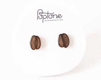 Coffee Bean Earrings, espresso beans, coffee bean studs, coffee lover gift