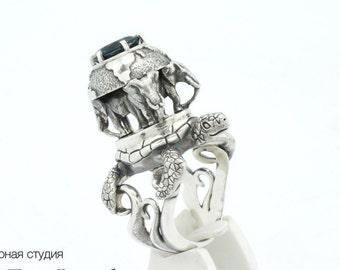 Discworld ring - sterling silver