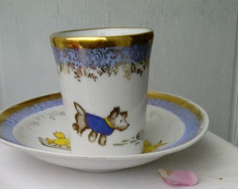 Vintage French Limoges child's nursery beaker and bowl