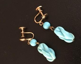 Vintage Blue Dangle Clip on Earrings