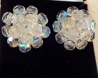 Vintage Crystal Cluster Earrings - Wedding Earrings or Sweet 16 - PIERCED (converted from clip-on)