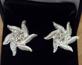 Vintage Silver-tone and Crystal Starfish Earrings - Converted to PIERCED