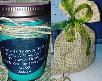 Personalized 8oz soy candle gift