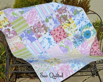 GORGEOUS! Vintage Sheet Cot Quilt made with love. Professionally machine quilted with lovely floral design.