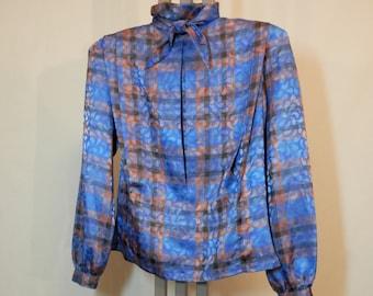 1980s Long Sleeve Blouse Nicola Blue Plaid Tie Neck | Size 8
