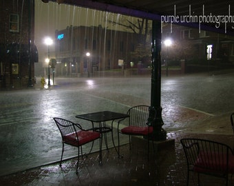 """Cityscape Photography, Rainy Night, Deserted Street, Abandoned Cafe, Small Town, Street Photo, Home Decor, Wall Art, """"Deserted"""""""