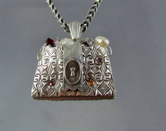 "Item 6005- ""Bling Bag"" Purse Pendant Handcrafted 999 Fine Silver Fresh Water Pearls, Swarovski Crystals & Cubic Zirconia"