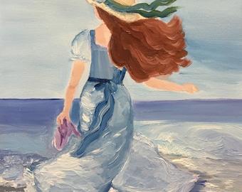 Woman Looking at Ocean Original Oil